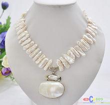 Collier de perles deau douce biwa blanc pendentif mabe