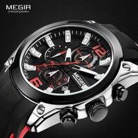 Men's Silicone Sports Army Quartz Wrist Watches Black Luminous Chronograph Stopwatch Clock Man Relojios Masculino 2063GS-BK-1