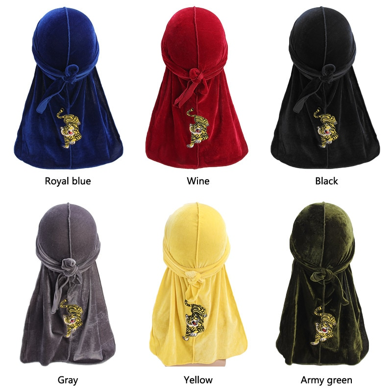 New tiger pattern embroidery Durag Turban headwrap doo do rag Bandanas Headwear Headband Hair Cover Accessories Waves Cap