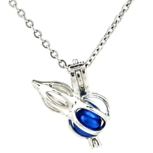 K953 Silver Alloy Cucurbit Beauty Beads Pearl Cage Pendant Chain Aroma Essential Oil Diffuser Locket