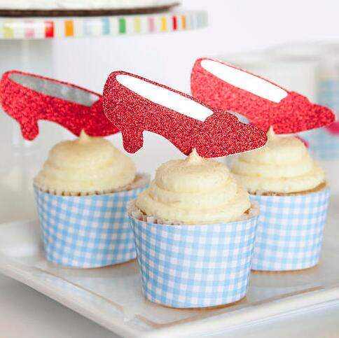 Purpurina de fiesta de Mago de Oz, zapatillas de rubí para cupcakes, Topper para niña, baby shower, bautismo, boda, Ballet, cumpleaños, palillos de baile