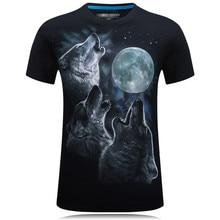 Новинка 2020, 3D рубашка с короткими рукавами, хлопок, для подростков, для мужчин, Волчья луна, свободная, повседневная, модная, популярная, крут...