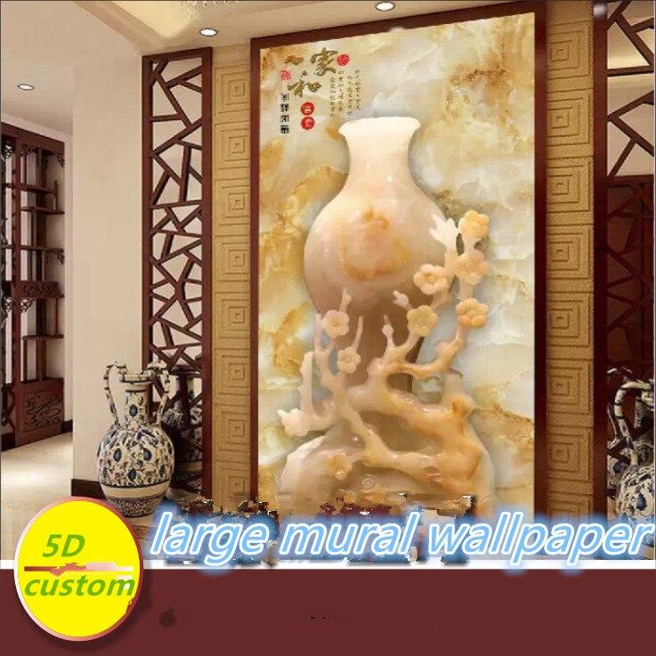 Papel pintado mural grande de seda 5D personalizado 3d jade en relieve chino tallado jarrón de porche rico y precioso jade tallado pasillo de porche