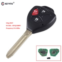 KEYYOU 3 Button Smart Remote Car Key Fob 314.4Mhz HYQ12BBY ID67 Chip For Toyota RAV4/Hilux/Camry Car Auto Remote Contol Key