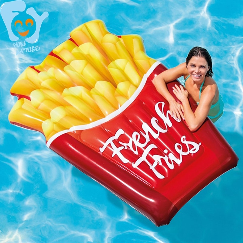 Inflatable French Fries Fun Pool Float Swimming Water Floaties Toys Floating Air Bed Mattress Beach Raft