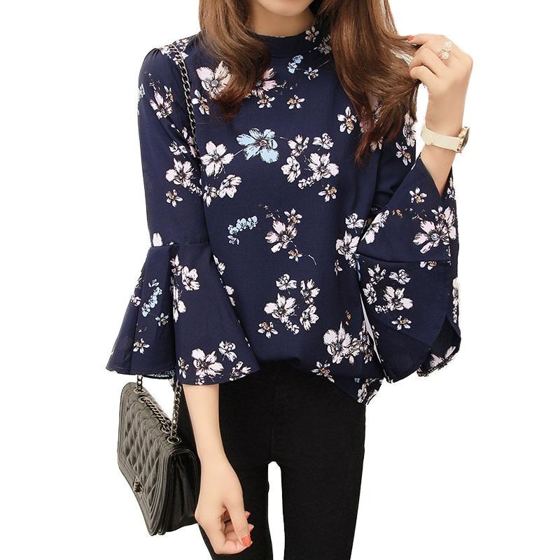 Blusa de gasa Floral de verano 2018, Blusa de manga acampanada para mujer, blusa de oficina para mujer, Blusas de moda coreana para mujer