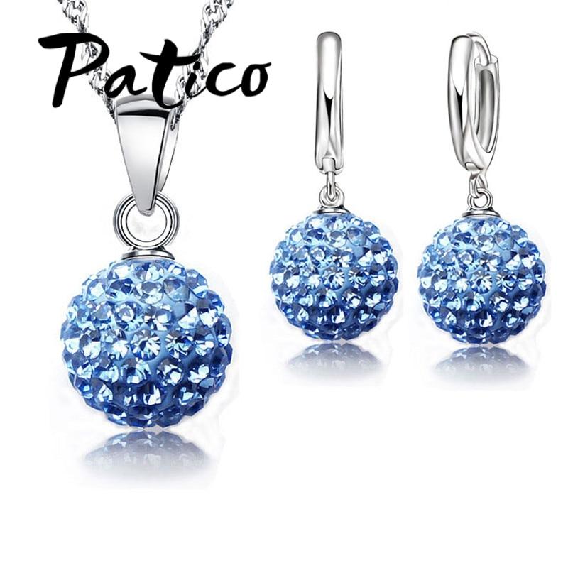 Quente novos conjuntos de jóias 925 prata esterlina cristal austríaco pave disco bola alavanca volta brinco pingente colar mulher