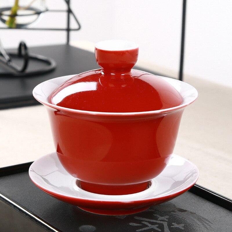 Hermosa Gaiwan de cerámica de 180 ml, taza de té de porcelana Kungfu ceremonia Tureen teaware puer/puerh/oolong/Blanco/Verde/té negro