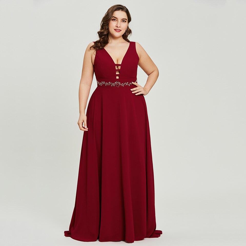 Vestido largo de noche Dressv Borgoña de talla grande barato cuello en v con cremallera rebordear vestido formal de fiesta de boda una línea vestidos de noche