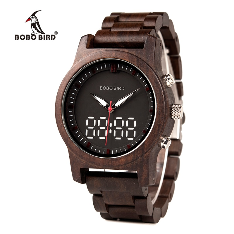 BOBO BIRD Men Watch LED Dual Display Clock Wood Digital Wristwatch Wooden Band Relogio Masculino J-R02