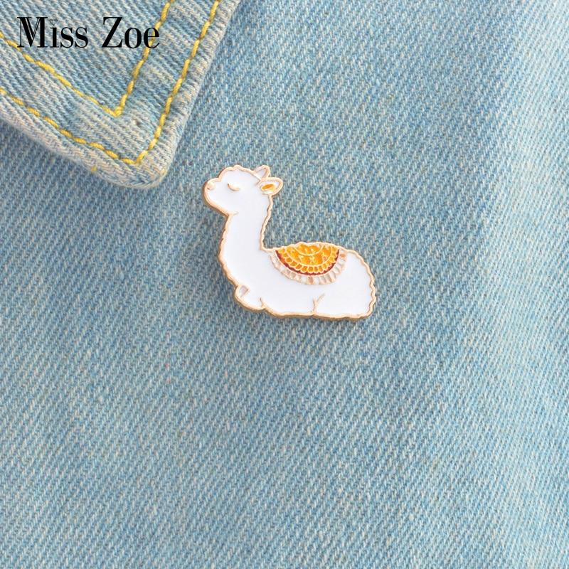 Baby Llama enamel pin Cute animal badge brooches Gift Cartoon icons Jacket coat dress Button Pin Gif