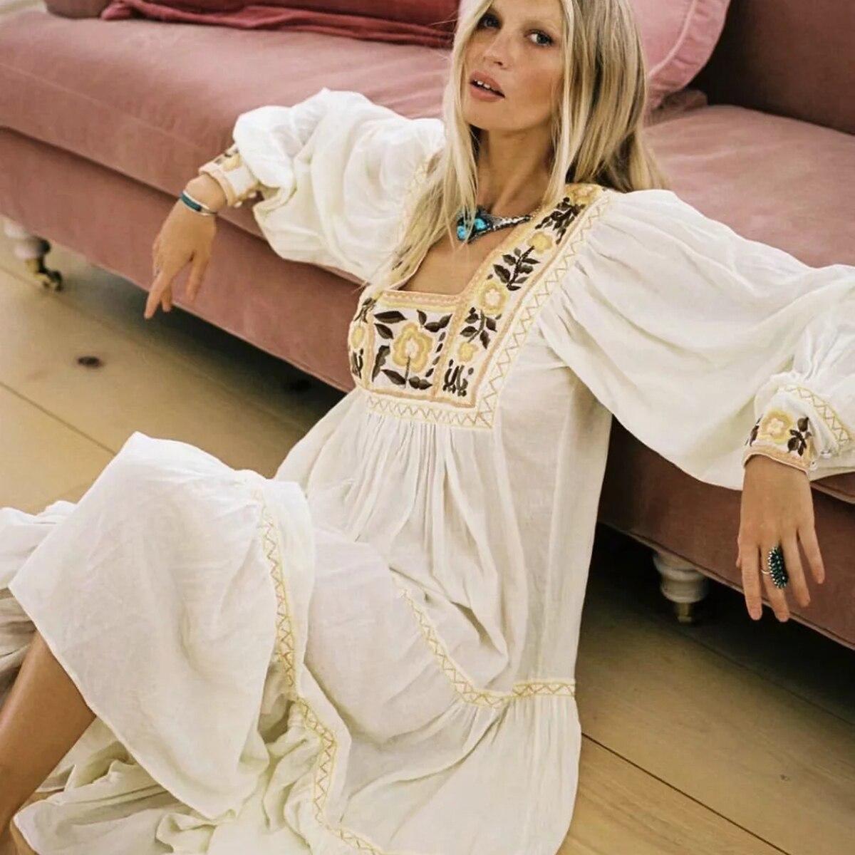Floral bordado branco maxi vestido de verão roupas femininas 2019 manga longa gola quadrada vestidos sexy boho praia hippie vestido longo