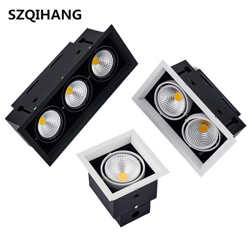 Alta calidad cuadrado 12W 2X12W 24W 3X12W 36W AR70 COB LED abajo luz doble COB led olla de frijol lámpara empotrable led COB foco de rejilla