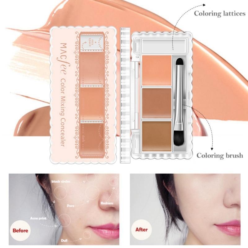 Profesional camuflaje base correctora para la cara maquillaje duradero ojeras impermeable contorno cojín cosmético 3 colores