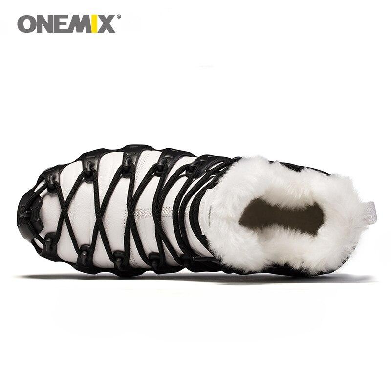 Купить с кэшбэком Onemix Brand Men Winter Snow Boots Waterproof Leather Sneakers Anti Slip Outdoor Keep Warm Wool Mountain Running Shoes for Women