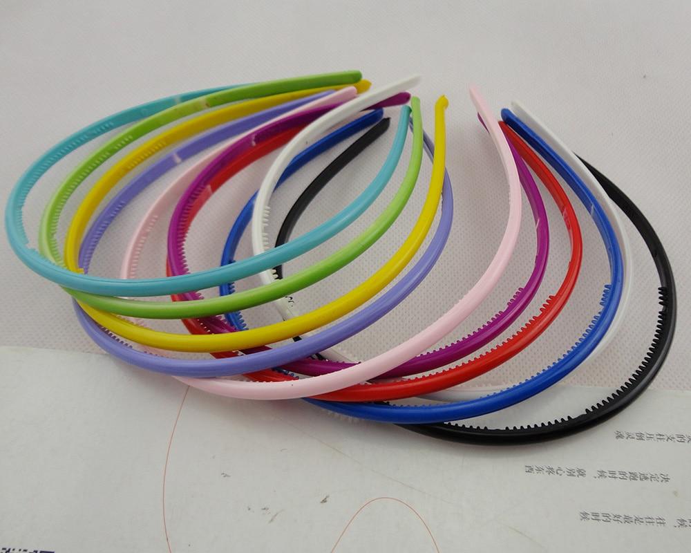 10 pcs 5mm cores Sortidas suave metade rodada simples tiaras de cabelo de plástico com dentes para dentro, sweet candy cor crianças Hairbands