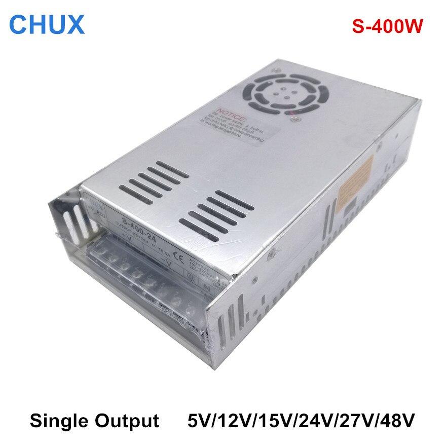 CHUX 400W 12V 24V 5V 15V 27V 48V DC امدادات الطاقة استخدام للصناعة S-400W واحد الناتج تحويل امدادات الطاقة