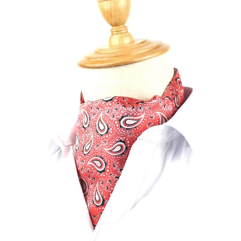 Fashion Floral Paisley Mens Cravat Ties British Style Gentleman Polyester Silk Neck Tie Wedding Party Cravats Ascot For Men