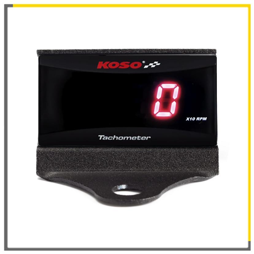 KOSO Mini RPM medidor Digital de pantalla LCD tacómetro medidor de horas tacómetro medidor con soporte para motocicleta de carreras
