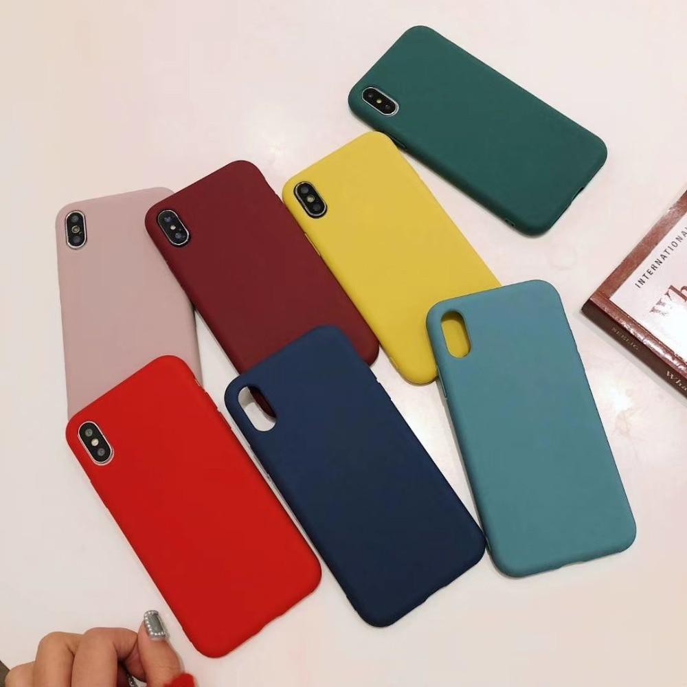 Funda de silicona suave TPU para Apple X, funda protectora para teléfono móvil iPhone max Apple 7/8plus, funda protectora XR de color sólido