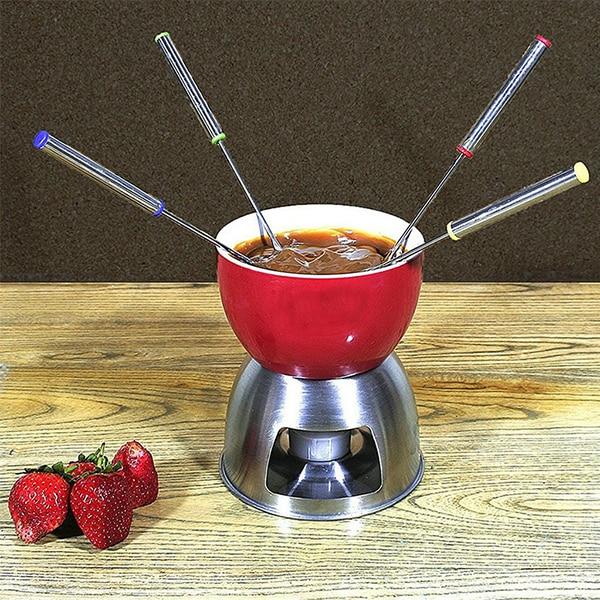6 unids/set de acero inoxidable Tenedor de Chocolate Hot Pot tenedores queso Tenedor de postre fruta Fondue Melting pincho cocina herramientas Fondue