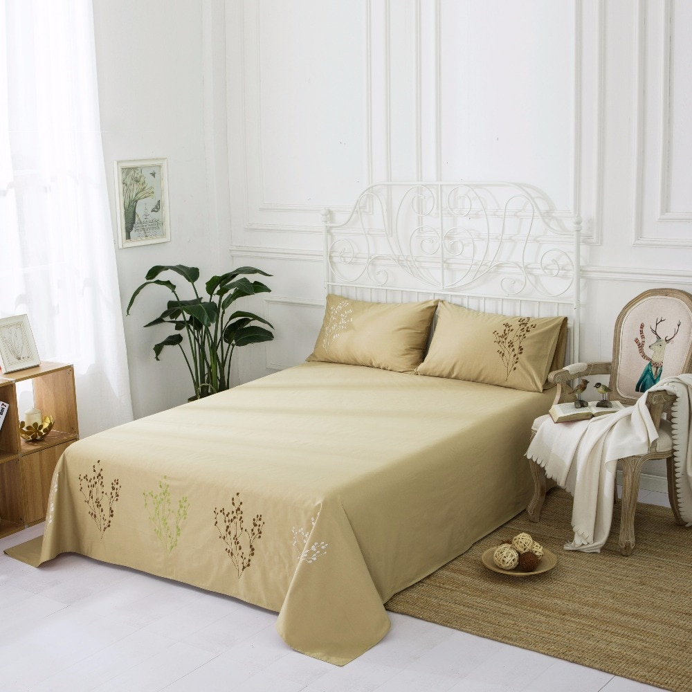 1 peça kaylee floral bordado folha de cama colcha para a decoração do casamento rainha gêmeo completo lençol king size algodão cáqui