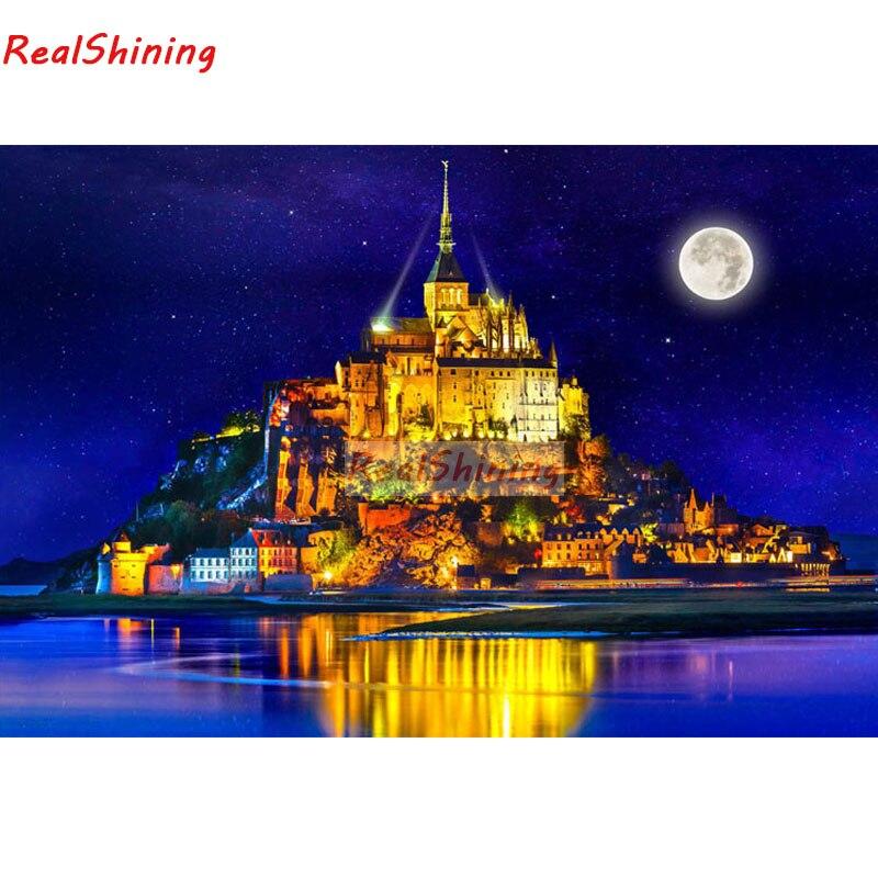 Cuadro de punto de cruz de diamantes 5D Diy, cuadro de bordado de diamantes cuadrado completo, cuadro de estrellas de Francia del monte Saint Michele, cuadro para decoración de habitación H1710