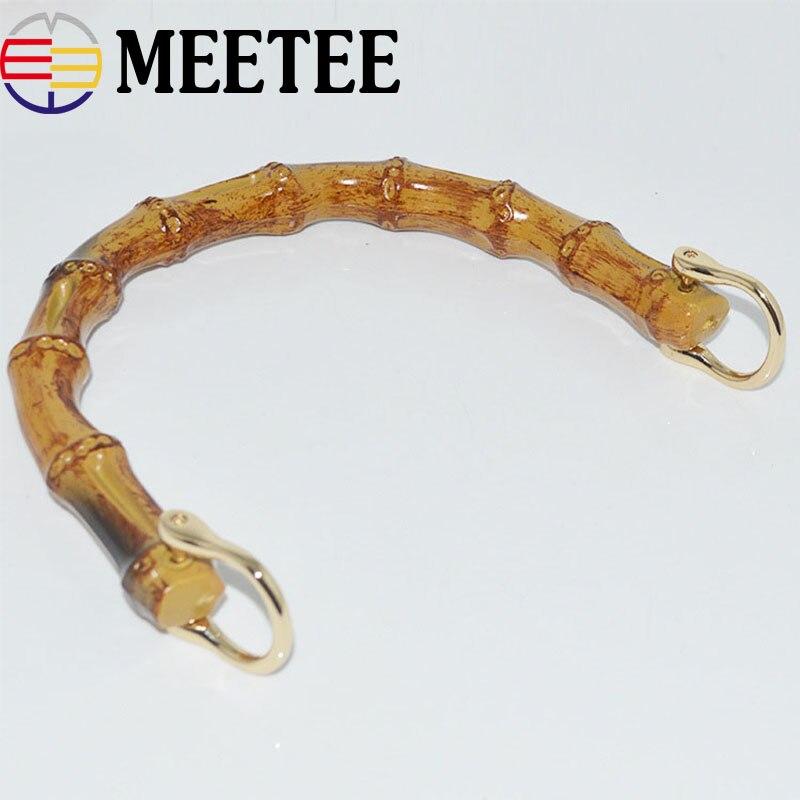 2 piezas de asas de bolso de madera de bambú Natural con hebillas de Metal bolsa de suspensión de bolso marco beso cierre DIY bolso de artesanías de cuero accesorios
