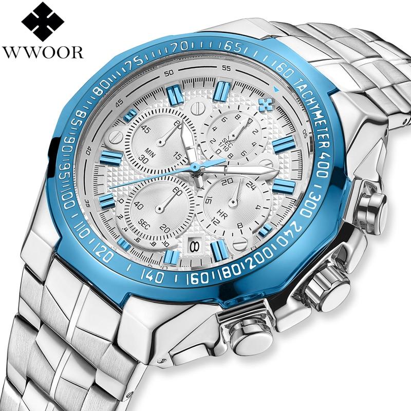 WWOOR marca de lujo para hombre relojes cronógrafo de cuarzo reloj de los hombres gran Dial reloj impermeable de negocios casuales reloj de pulsera hombre azul 2019