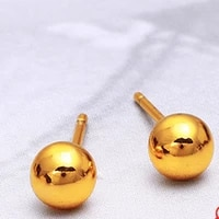 smooth round earrings yellow gold filled womens stud earrings simple style