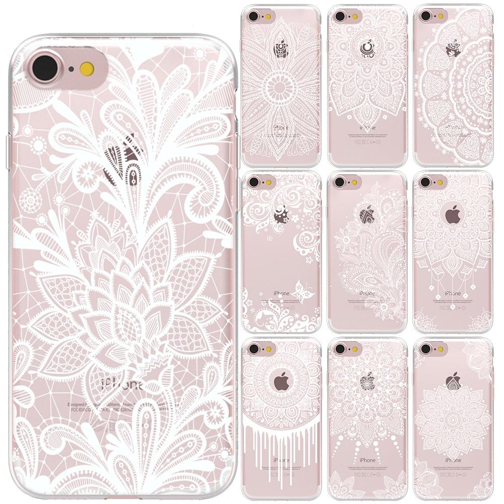 Funda blanca sexi de poliuretano termoplástico suave con encaje Floral para iPhone 11 Pro Max X XS MAX XR 5 5S SE 6S 6 7 8 Plus fundas de silicona con Mandala Floral