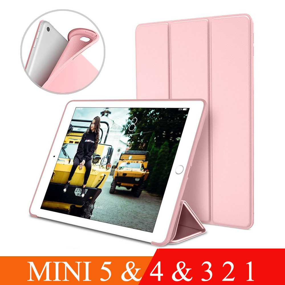 Case For Apple iPad Mini 4 3 2 1 Case Slim Fit Pu Leather Soft Silicone Back Trifold Stand Smart Cover for iPad Mini 5 Case 2019