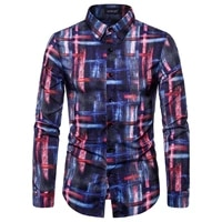new mens long sleeve casual shirt fashion abstract print shirt lapel slim shirt mens clothing