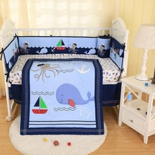 7PCS 바다 동물 자 수 목화 아기 침구 퀼트 범퍼 어린이 침대 침구 세트 ropa de cuna (4 범퍼 + duvet + 침대 커버 + 침대 치마)