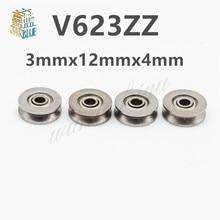 Roulement à billes en V V623ZZ   20 pièces/ensemble, 3x12x4mm, en acier au carbone, roulement à rainure en V utilisé dans la voie ferroviaire système de mouvement linéaire, vente en gros