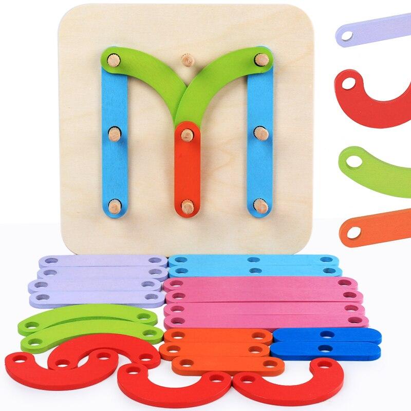 Juego de columnas con forma geométrica, rompecabezas de animales con letras digitales de madera, juguetes de educación temprana para bebés, clasificación de Color y apilamiento de juegos, rompecabezas