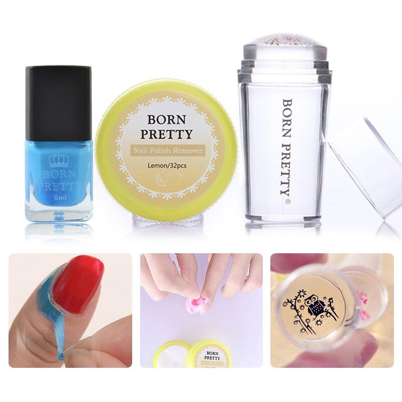 Nacido para uñas estampado herramienta set esmalte de uñas removedor almohadillas claro Stamper 6ml Peel Off cinta líquido de sello de manicura de uñas de arte Kits
