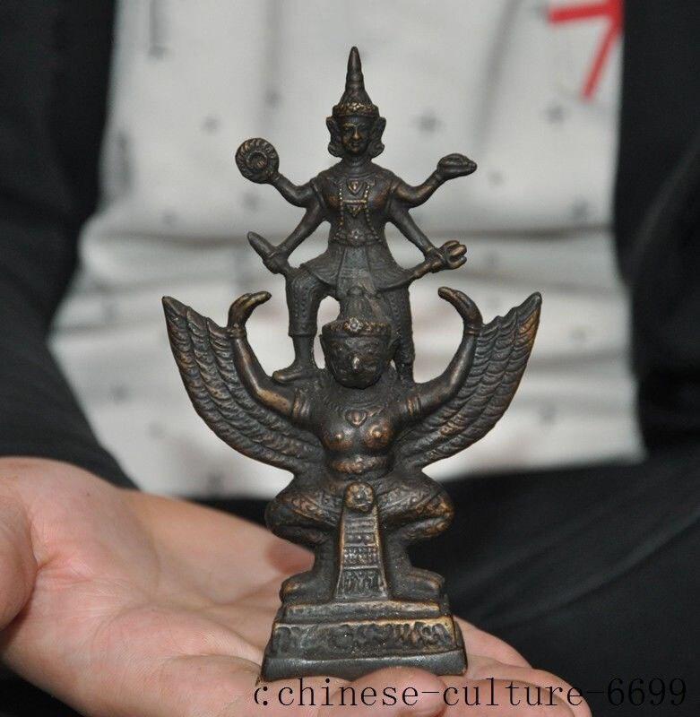 Weihnachten alte Tibet Buddhismus bronze 4 arme Buddha Redpoll Winged Garuda Vogel Adler Statue halloween