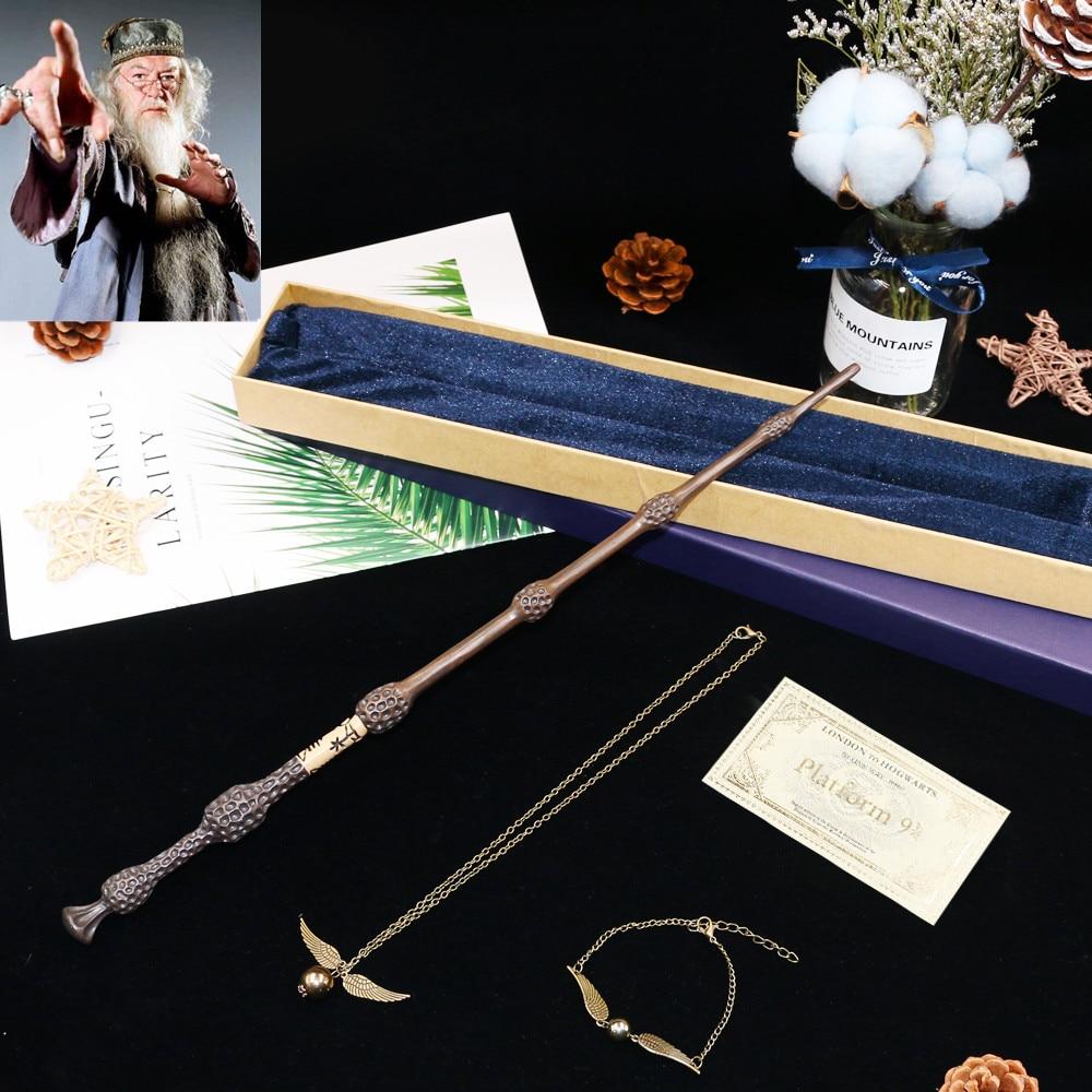 Doolng metal núcleo albus dumbledore varinha mágica/ha varinha mágica/ha vara/com embalagem da caixa de presente