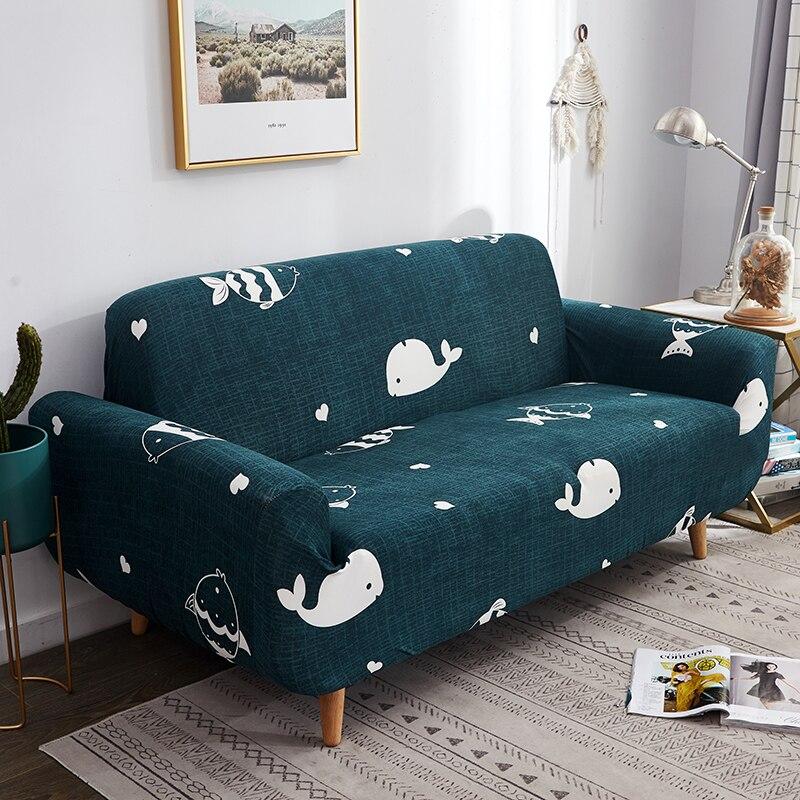 Baleia dos desenhos animados sofá slipcovers envoltório apertado all-inclusive deslizamento-resistente elástico cubre sofá toalha de canto sofá capa de sofá