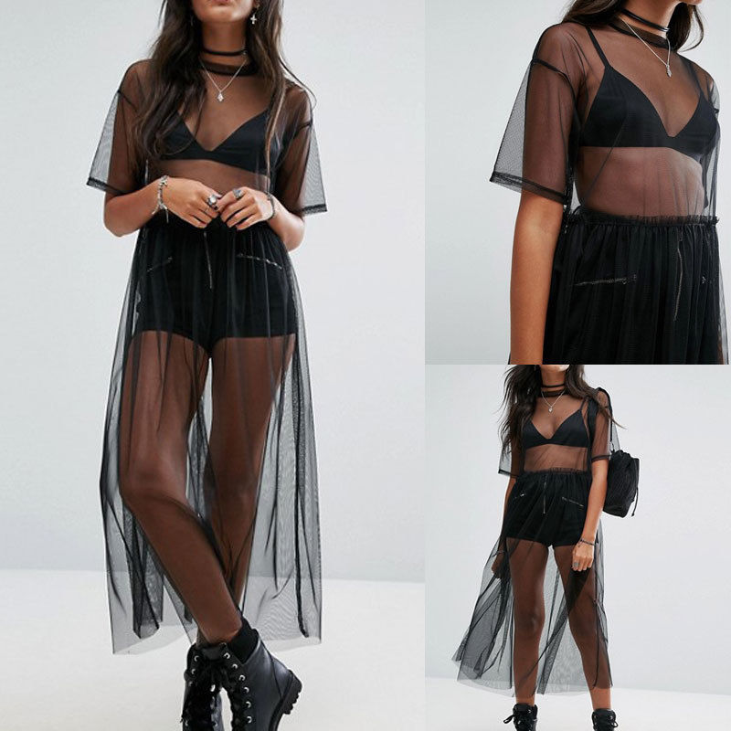 2018 Summer Volie Mesh Dresses Women See Through Black Gauze Mesh Sundress Half Sleeve Lace Sexy Outwear 1-Piece Summer