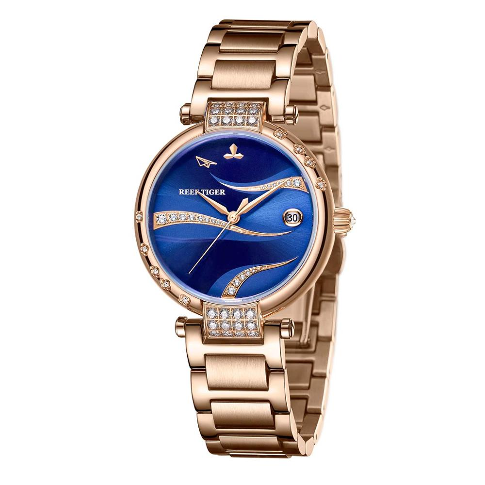 2021 Reef Tiger/ RT Red Dial Rose Gold Luxury Fashion Diamond Women Watches Stainless Steel Bracelet Automatic RGA1589 enlarge