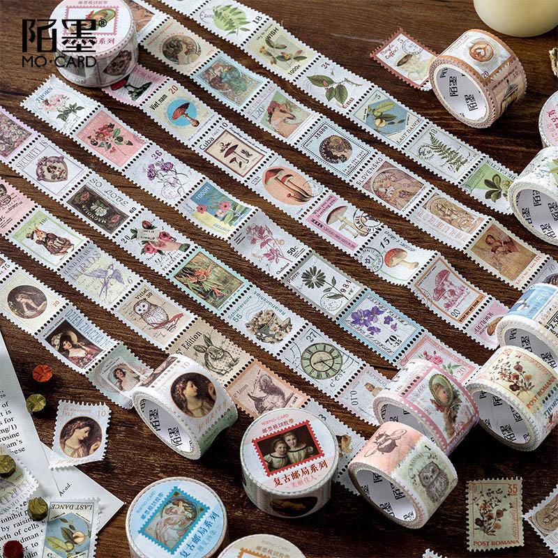 Vintage Stamp Washi Tape Kawaii Sticky Adhesive Tape Pig Masking Tapes For Kids Scrapbooking DIY Photos Albums Supplies
