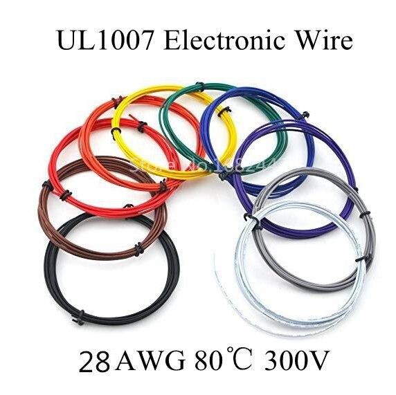 Cable eléctrico con aislamiento de PVC de 5 metros 28AWG UL1007, cable LED, conexión DIY, 10 colores, elija envío gratis
