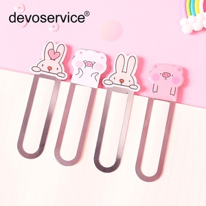 4Pcs Cute pig Metal Bookmark For Books Paper Clips Creative paperclip Bookmarks Gift Stationery Office School Supply Stationery