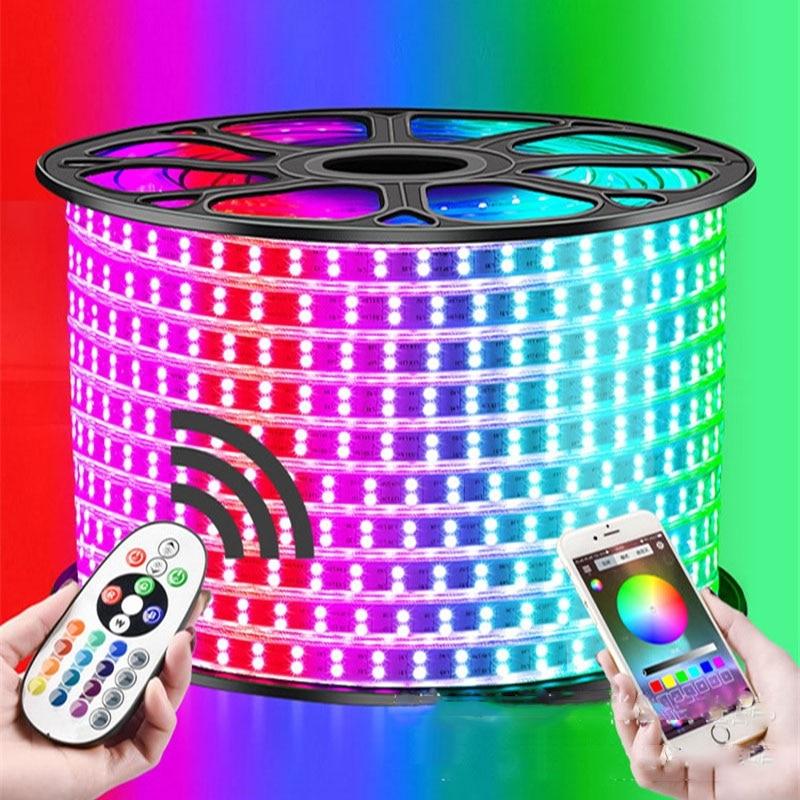 1-12M Zweireihig RGB LED Streifen 120LEDs/M 5050 220V Farbe Ändern Licht Band IP67 Wasserdichte LED Seil Licht + IR Bluetooth Steuer