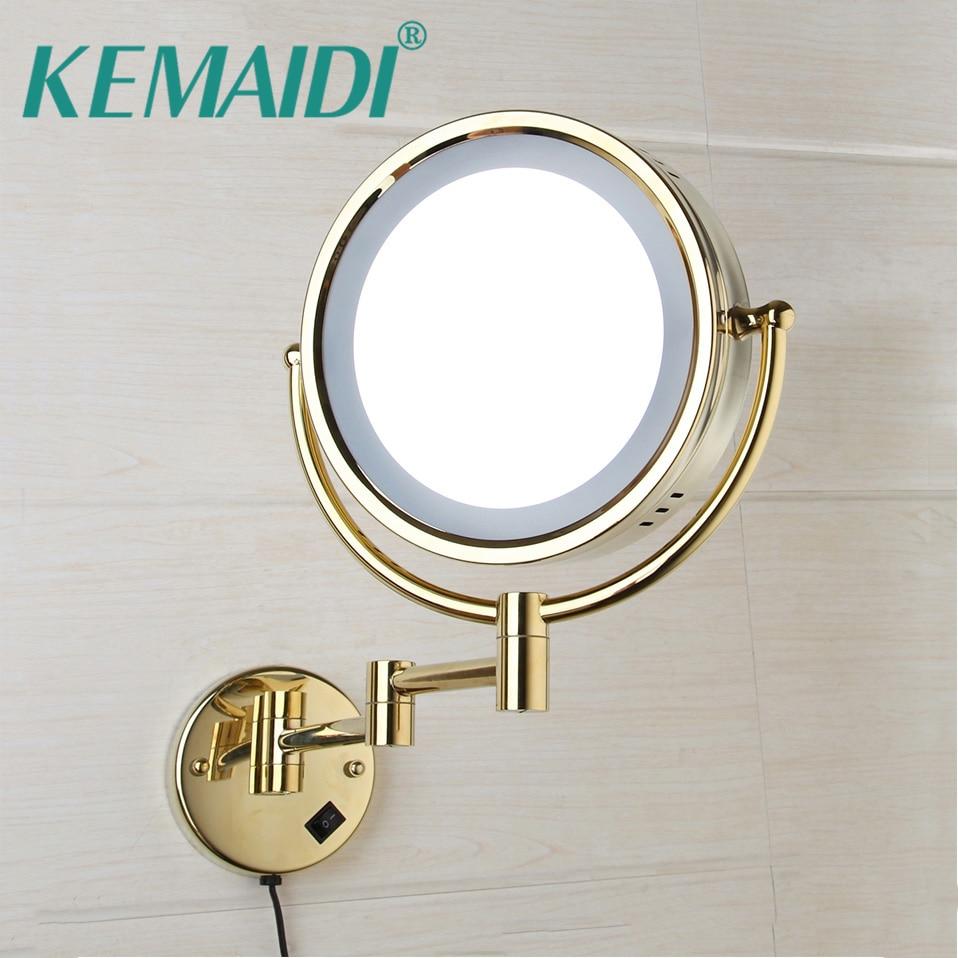 KEMAIDI Led Make Spiegel Met Led Licht Vanity Cosmetische Vergrootglas Muur Spiegel Badkamer 3x Vergroting Scheren Make Spiegels
