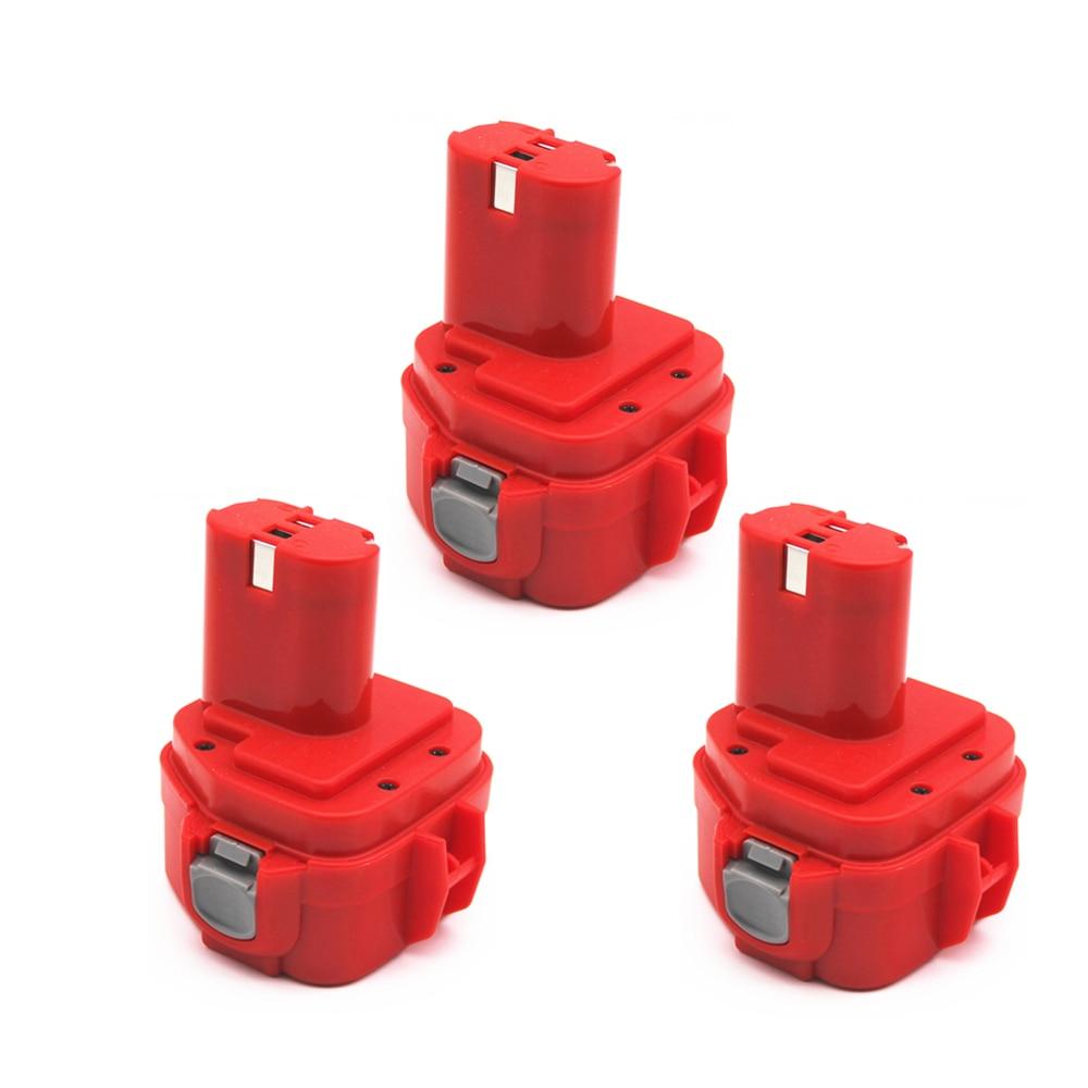 3 uds 12V PA12 2000mAh ni-cd para Makita batería recargable herramientas batería para Makita 1220 1222 1233S 1233SA 1233SB