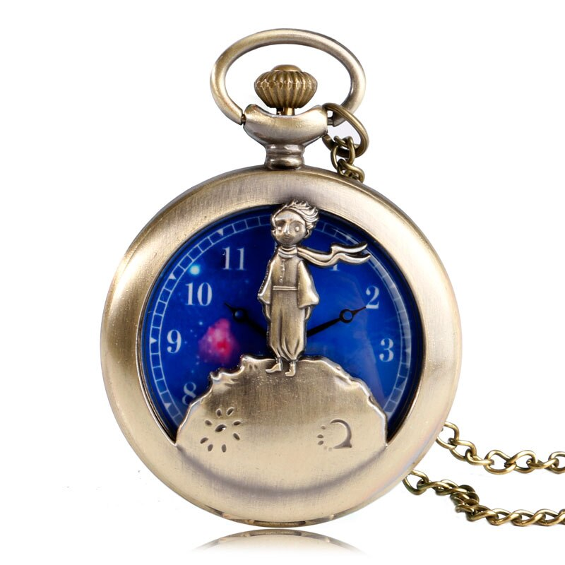 Classic Planet Blue Bronze Cartoon Kid Children The Little Prince Analog Quartz Pocket Watch Vintage Relogio De Bolso