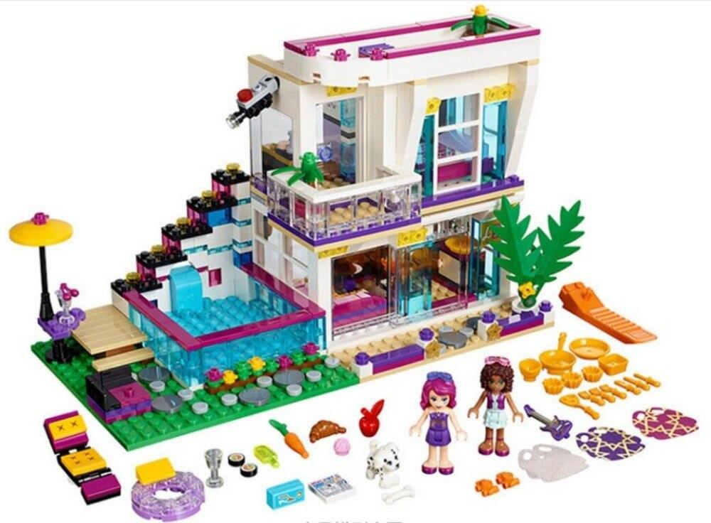 619 Uds serie de amigos Casa de bloques de construcción estrella Pop de Livi juguete de figuras de muñecas mini compatibles con los amigos de los lepines